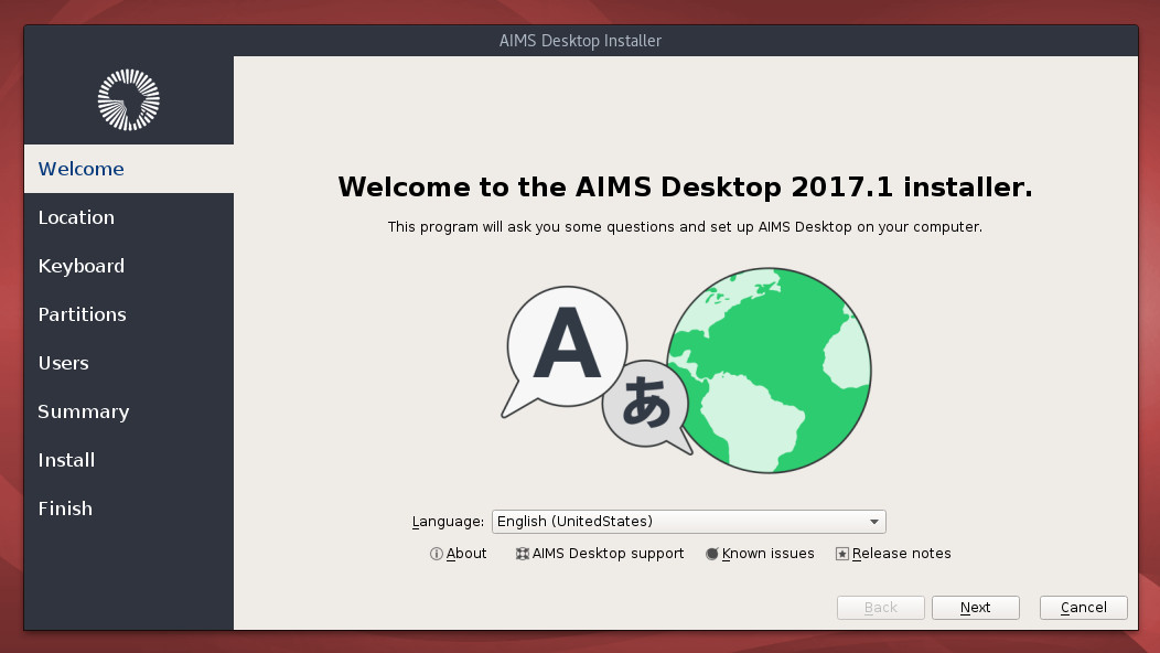 Installer welcome screen